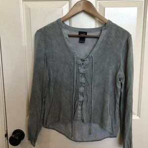 Rue21 Long Sleeve Top with Lace Up Front